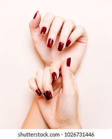 Beautiful female hands with nail polish