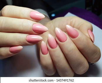 Beautiful female hands with ombre manicure