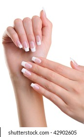 Beautiful female hands over white background with beauty french manicure