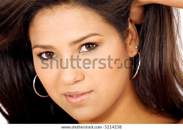 beautiful female hispanic girl with hear hair spread out
