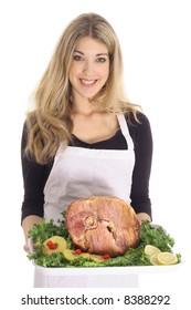 beautiful female with honey baked ham
