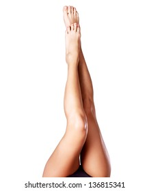 Beautiful female legs after depilation.  - isolated on white background