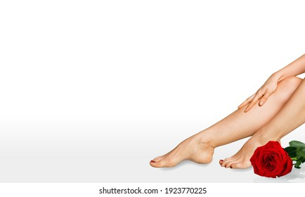 Beautiful female legs after depilation with smooth shiny skin. Healthcare, Spa and epilation.