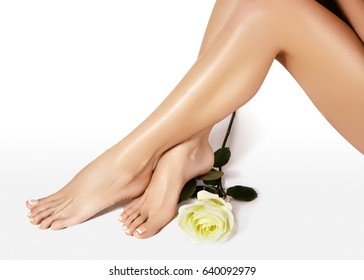 Beautiful female legs after depilation. Healthcare, foot care, rutine treatment. Spa and epilation. Sexy shape of woman's body