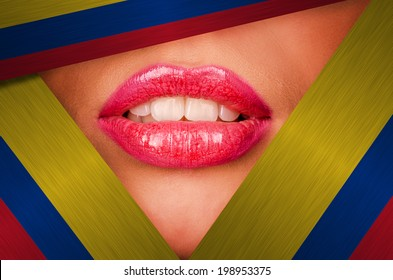 Beautiful female lips closeup behind colombia background