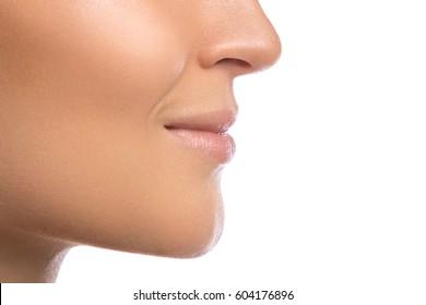 Beautiful female lips on white background
