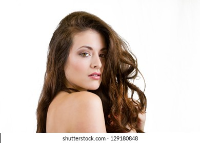 Beautiful Female Model Against Green Background