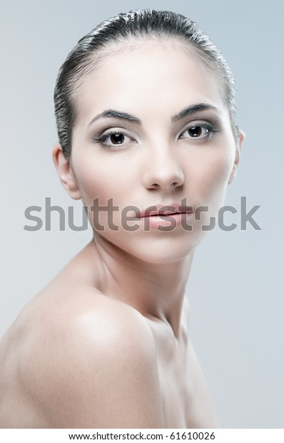Beautiful Female Model Looking Camera Over Stock Photo (Edit