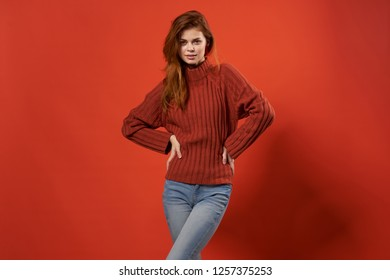 Beautiful female model on a red background