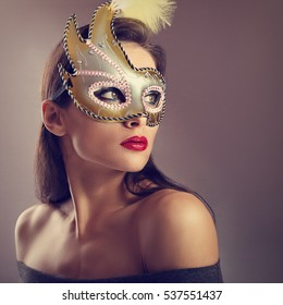 Beautiful female model posing in carnival mask with bright makeup and red lipstick on empty copy space background. Closeup portrait. Art. Toned color.