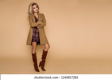 Beautiful female model in a winter coat and boots, goes shopping.