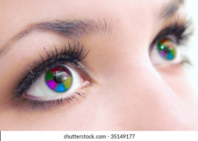 Beautiful female multi-coloured eyes, very close,