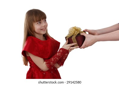 Beautiful female with present. Little girl gets gift.Attractive lady holding purple box with gold ribbon.Attractive girl is surprising at present.Isolated over white background.Schoolgirl feels shy.