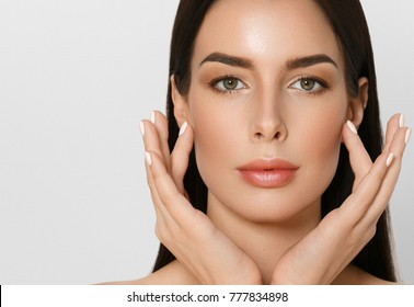Beautiful female skin care healthy hair and skin close up face beauty portrait