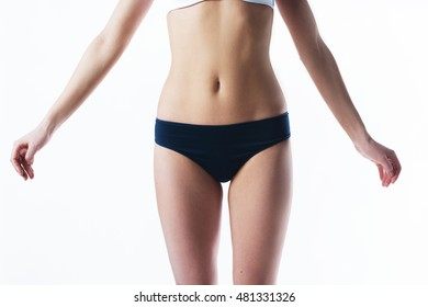 Beautiful female slim body. Beauty part of female body. Woman's shape with clean skin.Diet and fitness.Healthy lifestyle. Ideal waist, perfect buttocks and legs, sexy back
