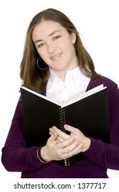 beautiful female student over white