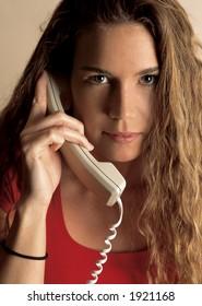 Beautiful female talking on the phone