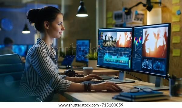 Schöne Video-Editor funktioniert mit Videos auf ihrem Personal Computer, sie arbeitet in Creative Office Studio.
