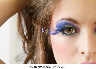 Beautiful Female Wearing Exotic Looking Eyelashes