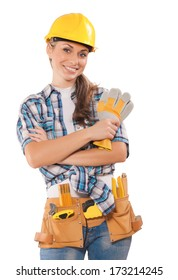 beautiful female wearing working clothes