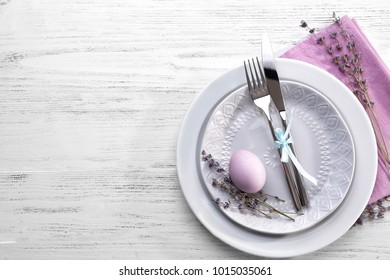 Beautiful festive Easter table setting with lavender