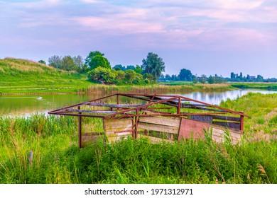 Beautiful fields under a nice sunset in Summer season. Buytenpark Zoetermeer, the Netherlands