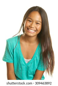 Beautiful Filipino Girl Smiling on a White Background