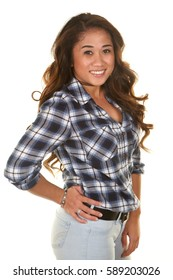 Beautiful Filipino Woman In her Twenties on a White Background with Long Curled Brown Hair wearing a Plaid shirt