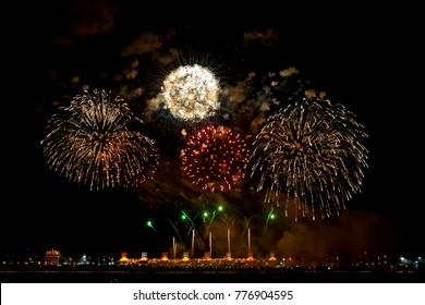 Beautiful Fire works at Bahrain International Circuit, Sakhir on Bahrain National Day, 16th December 2015