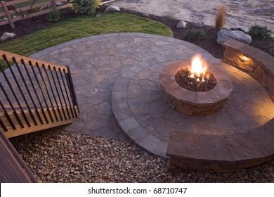 Beautiful firepit at dusk