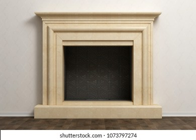 Beautiful fireplace in classical home interior