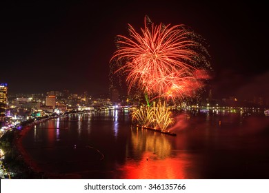 Beautiful firework display for celebration on the sea