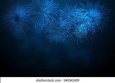 Beautiful firework on New Year's Day,Firework on a gold background