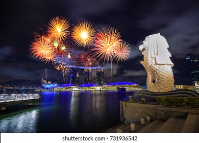 beautiful firework over Merlion park in Singapore city at night