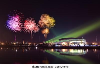 beautiful firework over stadium with sky at night