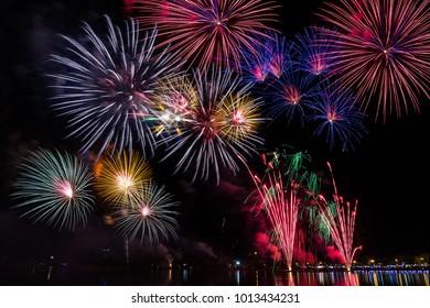 Beautiful fireworks .