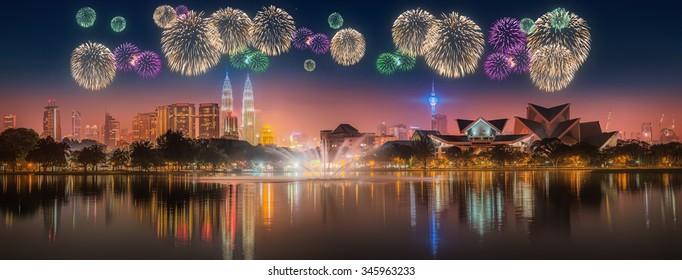 Beautiful fireworks above cityscape of Kuala Lumpur skyline at night, Malaysia