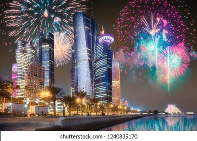 Beautiful fireworks above park in Doha City Center at night, Qatar