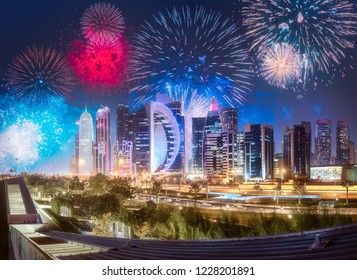 Beautiful fireworks above West Bay and Doha City Center at night, Qatar