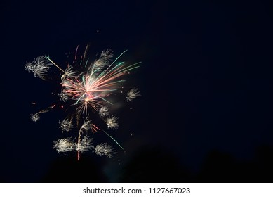 Beautiful fireworks in black sky for background.