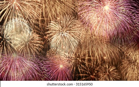 Beautiful fireworks colorful background.
