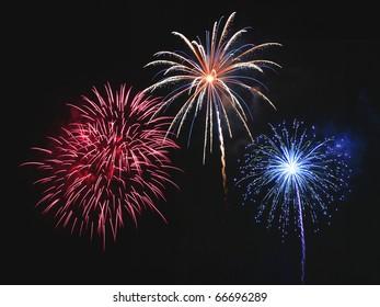 Beautiful fireworks display in the night sky