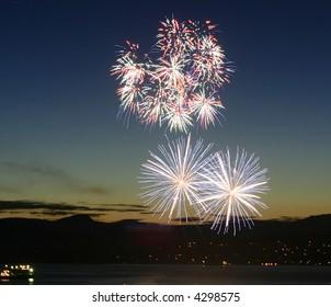 A beautiful fireworks display at sundown