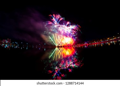Beautiful fireworks at the lagoon udonthani thailand public park.
