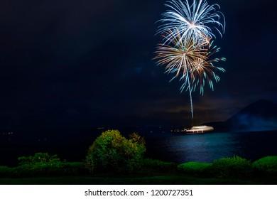 beautiful fireworks in lake toya festival ,lake toya one of most popular traveling destination in hokkaido japan