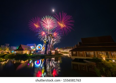 Beautiful fireworks at Legend Siam at night , Pattaya Thailand. The celebration of fireworks of Loy Krathong festival at Legend Siam Pattaya.