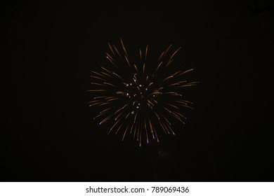 beautiful fireworks at New Year and copy space - abstract holiday background