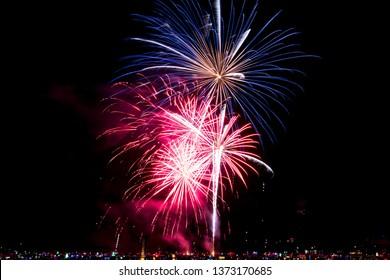beautiful fireworks at night