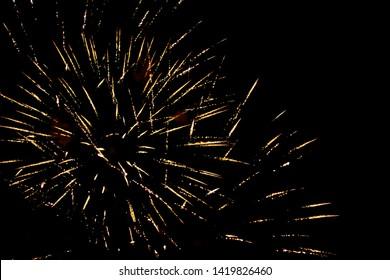 Beautiful fireworks at night on sky.
