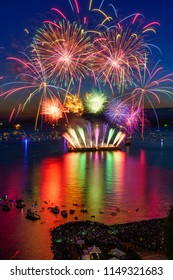 beautiful fireworks on the ocean at English bay Vancouver downtown,Canada